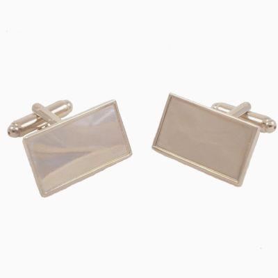 Cufflink Pair Rect. 23x12mm silver